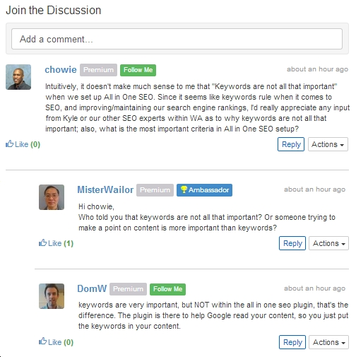 Wealthy Affiliate view of the comments thread that follows each lesson