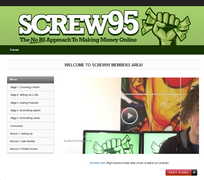 Screenshot of the Screw95 course menu / members area