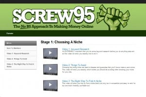 Screw95 training screen shot of the 1st stage niche market selection