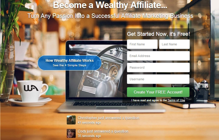Wealthy Affiliate sign up screen