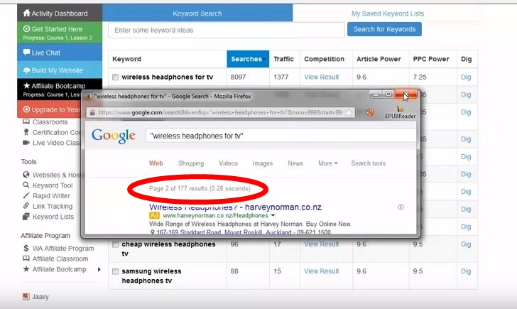 Shows how the Wealthy Affiliate free keyword tool used to display Googles quoted search results (QSR)
