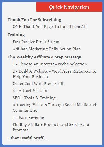 Wealthy Affiliate Challenge Bonus Resources Page Contents