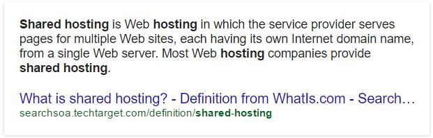 Screenshot from Google search results answering what is shared hosting