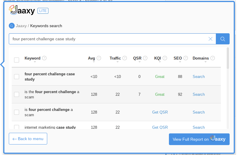 Jaaxy free keyword tool showing under 10 searches per month for the keyword Four Percent Challenge Case Study