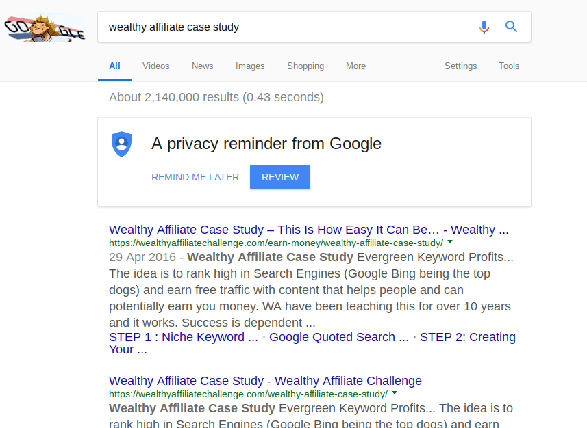 Google search results for Wealthy Affiliate Case study